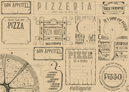 Pizzeria Placemat - Paper Napkin for Pizza House with Place for Text in Vintage Style. Italian Menu. Retro Craft Paper Design. Vector Illustration. Çizim