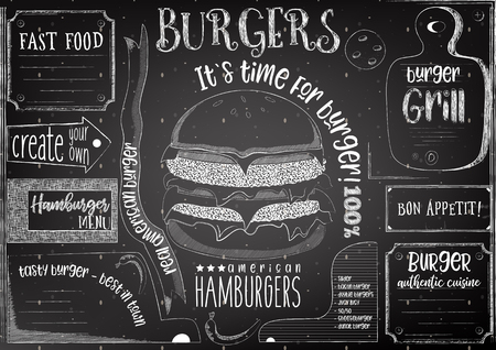 Burgers chalk drawn menu design with place for text on blackboard. Placement for restaurant, bar, pub and cafe. Vector illustration.