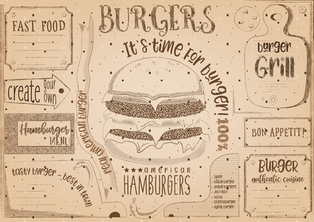 Fast Food Drawn Menu Design. Burger Placemat for Restaurant and Cafe. Hamburger Menu on Craft Paper with Place for Text. Vector Illustration.