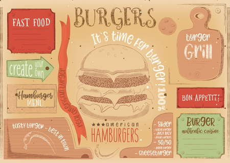 Fast Food Drawn Menu Design. Burger Placemat for Restaurant and Cafe. Hamburger Menu on Craft Paper with Place for Text. Vintage Style. Vector Illustration. Illustration