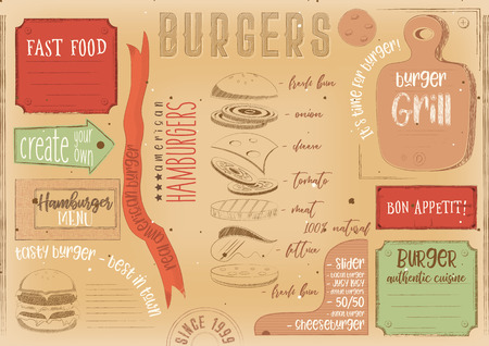 Burgers placement. Paper napkin for burger house with place for text in retro style. Vintage design. Vector illustration.