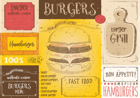 Hamburgers placement. Paper napkin for burger house with place for text in retro style. Vintage design. Vector illustration.