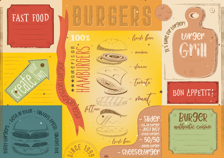 Burgers placement. Colored paper napkin for burger house with place for text in retro style. Vintage design. Vector illustration.