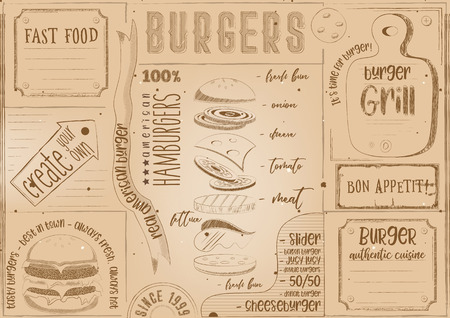 Burgers Placemat - Color Paper Napkin for Burger House with Place for Text in Retro Style. Retro Craft Paper Design. Vintage Design. Vector Illustration. Illustration
