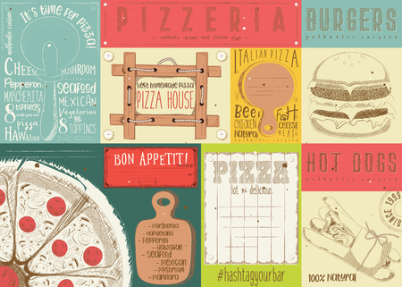 Placemat for Pizzeria and Fast Food -  Paper Napkin for Pizza House, Burger Bar with Place for Text in Retro Style. Vector Illustration.