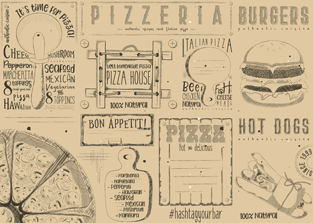 Placement for pizzeria and fast food. Paper napkin for pizza house, burger bar with place for text in retro style. Craft paper design. Vector illustration.