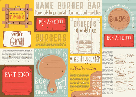 Fast food such as pizza, hot dog, burgers. Drawn menu design. Placement for restaurant, bar, pub and cafe. Space for text. Vector illustration.