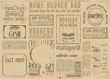 Fast food like burgers. Drawn menu design. Placement for restaurant, bar, pub and cafe. Space for text. Retro craft paper design. Vector illustration.