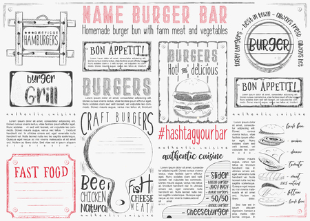 Hamburgers placement. Paper napkin for burger house with place for text on white background. Vintage design. Vector illustration.