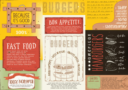 Hamburgers placement. Paper napkin for burger house with place for text in colorful. Vintage design. Vector illustration.