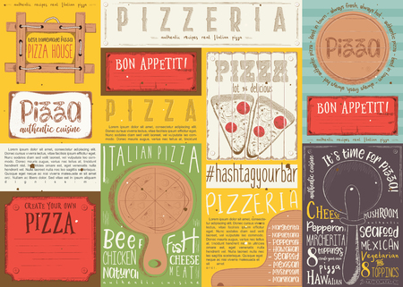 Pizzeria Placemat - Paper Napkin for Pizza House with Place for Text in Retro Colorful Style. Italian Menu. Vector Illustration. Çizim