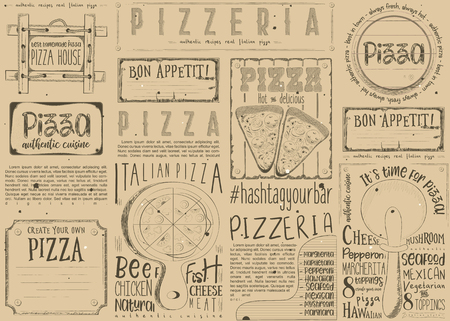 Pizzeria Placemat - Paper Napkin for Pizza House with Place for Text in Retro Craft Paper Style. Italian Menu. Vector Illustration.