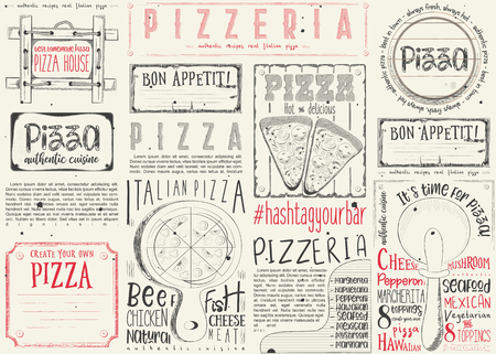 Pizzeria placement. Paper napkin for pizza house with place for text on white background. Italian menu. Vector illustration.