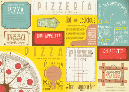 Pizzeria placement. Paper napkin for pizza house with place for text in retro style. Big pizza. Vector illustration. Çizim