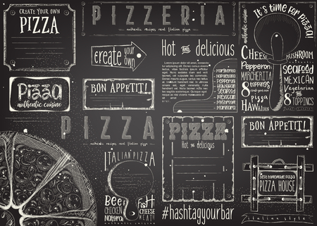 Pizzeria placement. Paper napkin for pizza house with place for text in retro style. Big pizza chalk drawn on blackboard. Vector illustration.