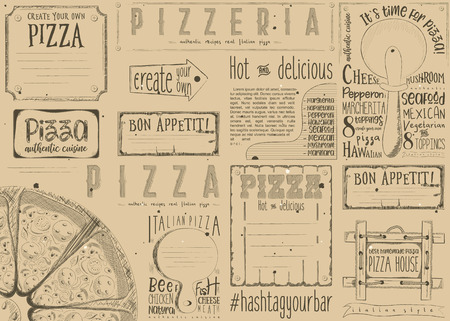 Pizzeria Placemat - Paper Napkin for Pizza House with Place for Text in Retro Style. Big Pizza on Craft Paper. Vector Illustration. Çizim