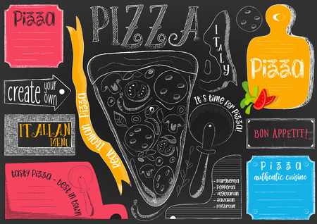 Pizzeria Placemat - Paper Napkin for Pizza House with Place for Text in Retro Style on Black. Vector Illustration.