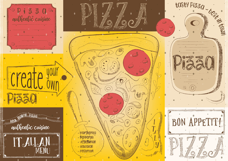 Pizzeria Placemat - Paper Napkin for Pizza House with Place for Text in Retro Style. Pizza Slice. Vector Illustration. Çizim