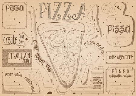 Pizzeria Placemat - Paper Napkin for Pizza House with Place for Text in Retro Style. Pizza Slice. Vintage Craft Paper Design. Vector Illustration.