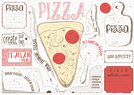 Pizzeria placement. Paper napkin for pizza house with place for text in retro style. Pizza slice on white background. Vector illustration.