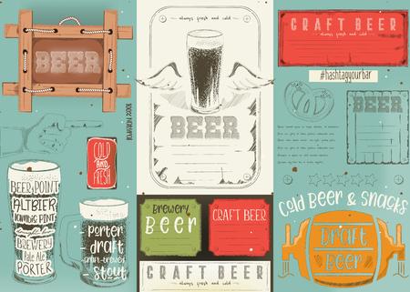 Beer drawn menu design. Craft beer placement for restaurant, bar, pub and cafe. Drink menu. Vector illustration. Stock Illustratie