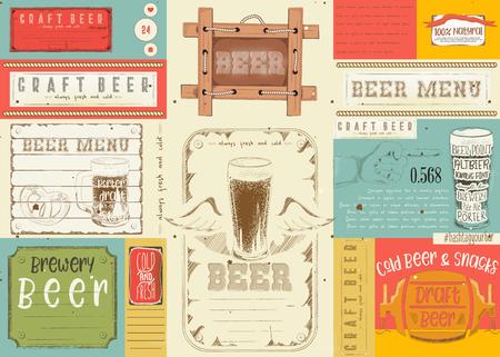Beer drawn menu design. Craft beer placement for restaurant, bar, pub and cafe. Vector illustration.
