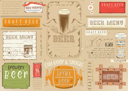 Beer Drawn Menu Design. Craft Beer Placemat for Restaurant, Bar, Pub and Cafe. Place for Text Menu.  Vector Illustration. Çizim