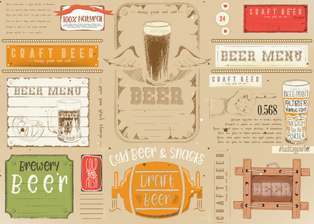 Beer Drawn Menu Design. Craft Beer Placemat for Restaurant, Bar, Pub and Cafe. Place for Text Menu.  Vector Illustration. Illustration