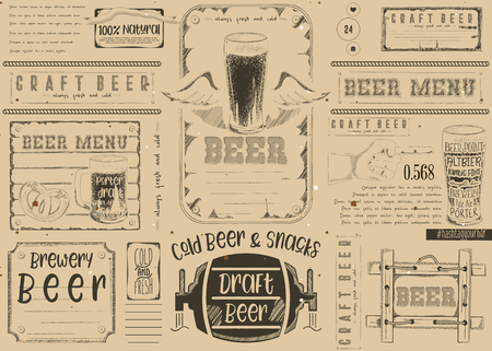 Beer Drawn Menu Design. Craft Beer Placemat for Restaurant, Bar, Pub and Cafe. Place for Text Menu. Craft Paper Design.  Vector Illustration.