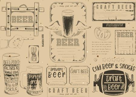 Beer drawn menu design. Craft beer placement for restaurant, bar, pub and cafe. Place for text menu. Vintage craft paper design. Vector illustration.  イラスト・ベクター素材
