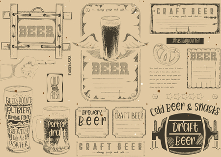 Beer drawn menu design. Craft beer placement for restaurant, bar, pub and cafe. Place for text menu. Vintage craft paper design. Vector illustration. Stock Illustratie