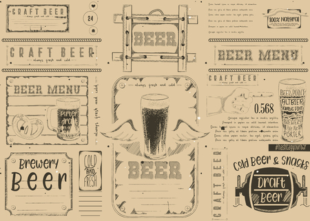 Beer drawn menu design. Craft beer placement for restaurant, bar, pub and cafe. Place for text menu. Retro craft paper design. Vector illustration.