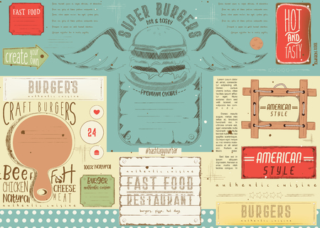 Fast food drawn menu design. Burger placement for restaurant and cafe. Hamburger menu. Vector illustration. Çizim
