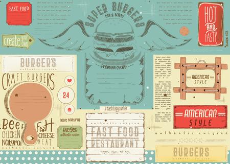 Fast food drawn menu design. Burger placement for restaurant and cafe. Hamburger menu. Vector illustration. Illustration