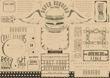Fast food drawn menu design. Burger placement for restaurant and cafe. Hamburger menu on craft paper. Vector illustration.