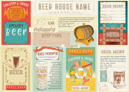 Beer Drawn Menu Design. Vector Illustration. Vettoriali