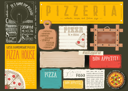 Pizzeria Placemat - Paper Napkin for Pizza House with Place for Text in Retro Style on Black Background. Vector Illustration. Vettoriali