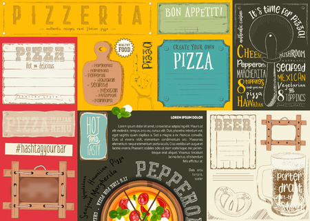 Pizzeria Placemat, Paper Napkin for Pizza House with Place for Text and Beer in Retro Style. Vector Illustration.