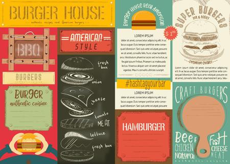 Fast Food Drawn Menu Design. Burger Placemat for Restaurant and Burger House. Hamburger Menu. Vector Illustration.