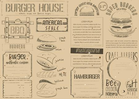 Fast food vintage menu design. Burger placemat for restaurant and cafe. Hamburger menu on craft paper. Vector illustration.