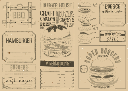 Fast Food Place Mat. Burger Placemat for Restaurant and Cafe. Hamburger Menu on Retro Craft Paper. Vector Illustration. Stock Vector - 95952859