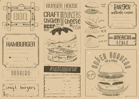 Fast Food Place Mat. Burger Placemat for Restaurant and Cafe. Hamburger Menu on Retro Craft Paper. Vector Illustration. Illustration