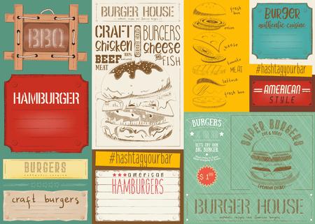 Fast food drawn menu design colorful. Burger placemat for restaurant and burger House. Hamburger menu. Vector Illustration.