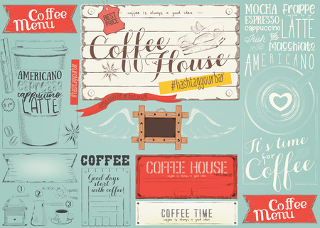 Coffee Menu Placemat Design. Colorful Template for Coffee Shop, Coffee House and Cafe. Retro Style on Blue Background. Vector Illustration.