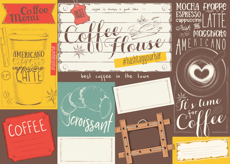 Coffee Menu Placemat Design. Colorful Template for Coffee Shop, Coffee House and Cafeteria. Retro Style Table Cloth. Place for Text. Vector Illustration.