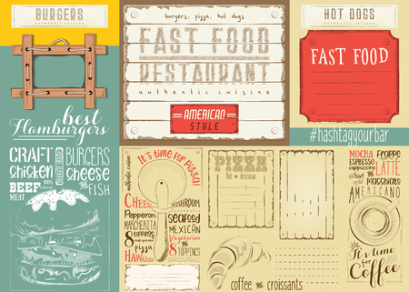 Set of fast food drawn menu design with Place for Text.