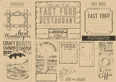 Drawn Menu Design with Place for Text. Place mat for Pizzeria Vector Illustration.