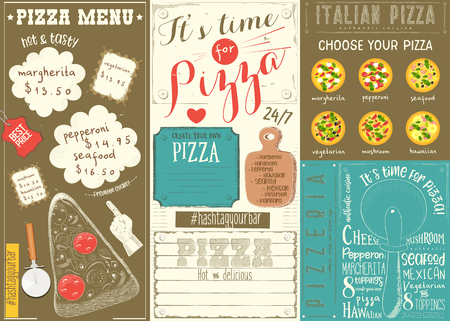 Pizzeria Place mat  on Colorful Paper Menu Template for Pizza House with Place for Text in Retro Style.