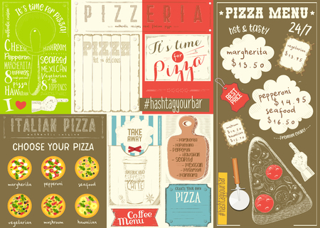 Pizzeria Placemat - Colorful Paper Menu Template for Italian Pizza House with Place for Text in Retro Style. Vector Illustration.