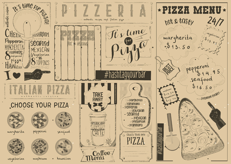Pizzeria Placemat - Craft Paper Menu Template for Pizza House with Place for Text in Retro Style. Vector Illustration. Çizim